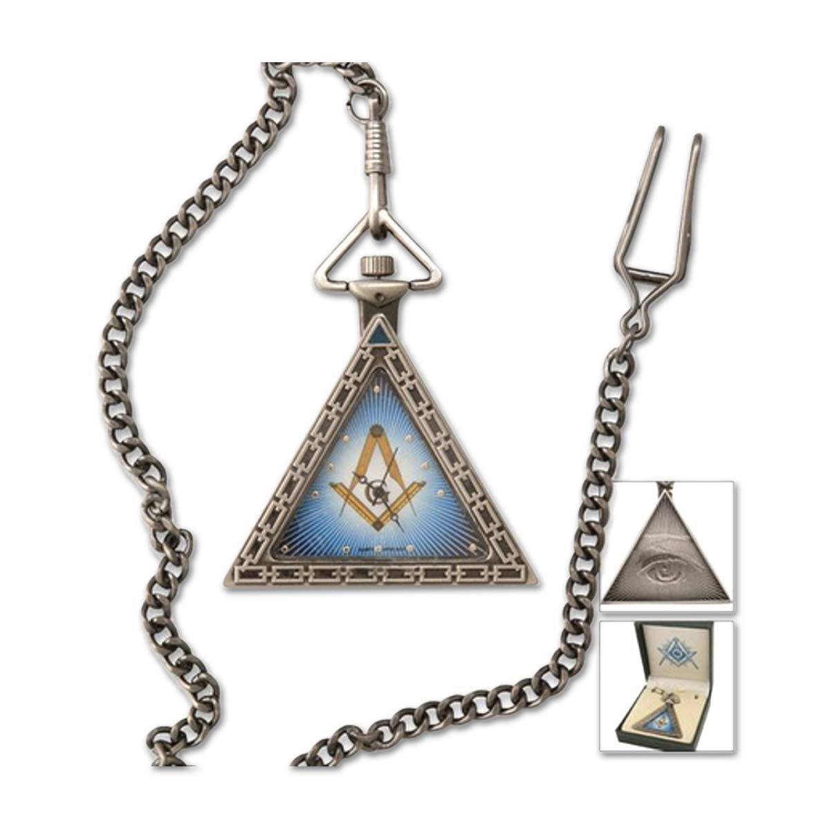 Triangular Square Compass Antique Silver Masonic Pocket Watch – 2 Tall