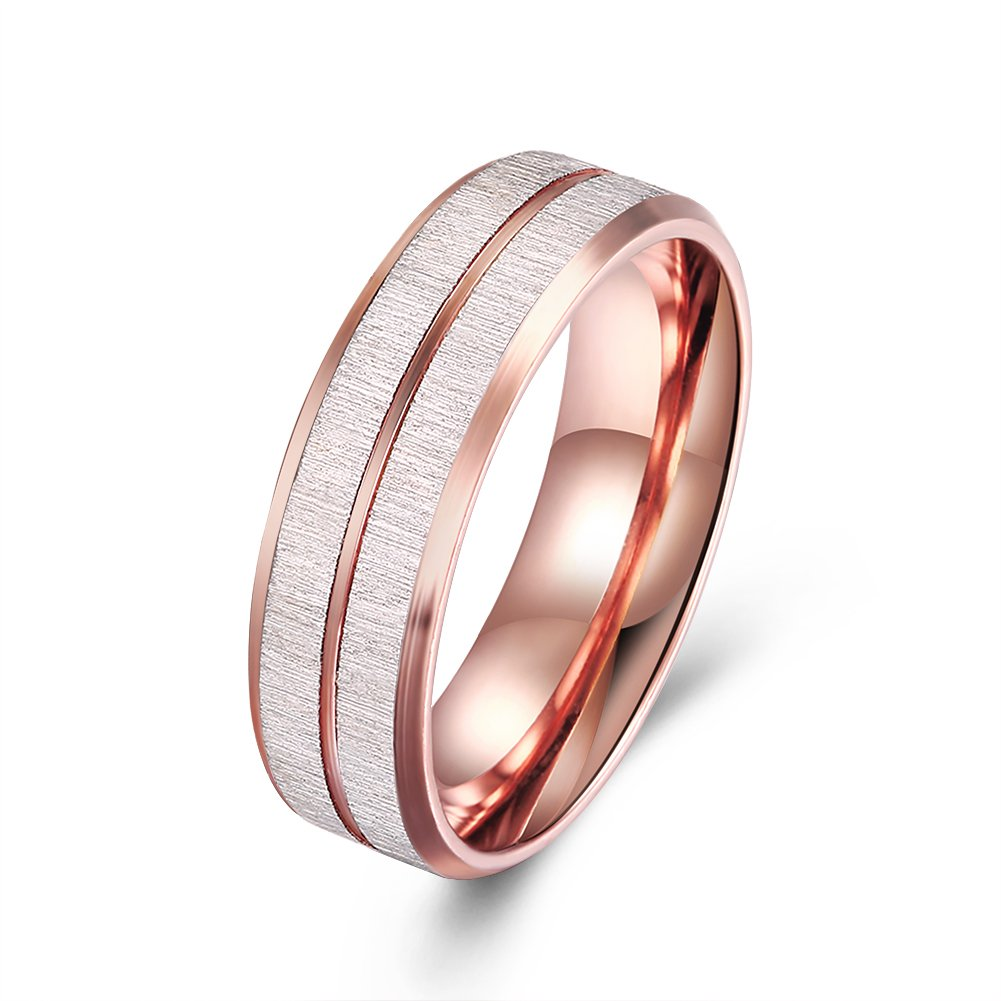 6mm Rose Gold Wedding Bands Rings Titanium Carbide Center Grooved High Polish Comfort Fit Ring