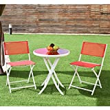 Custpromo 3 Pcs Bistro Set Folding Table and Chair Set Metal Frame Tempered Glass Top Garden Backyard Furniture (Red)