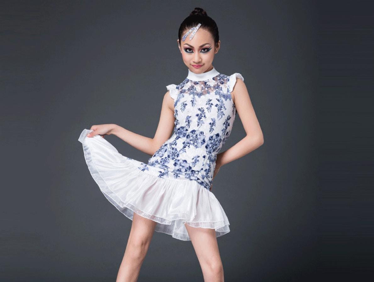 Dark bleu Jupe de Danse Latine pour Enfants Costumes pour Enfants Just Dance Clothing Match Gaze Costume Deux pièces 170cm