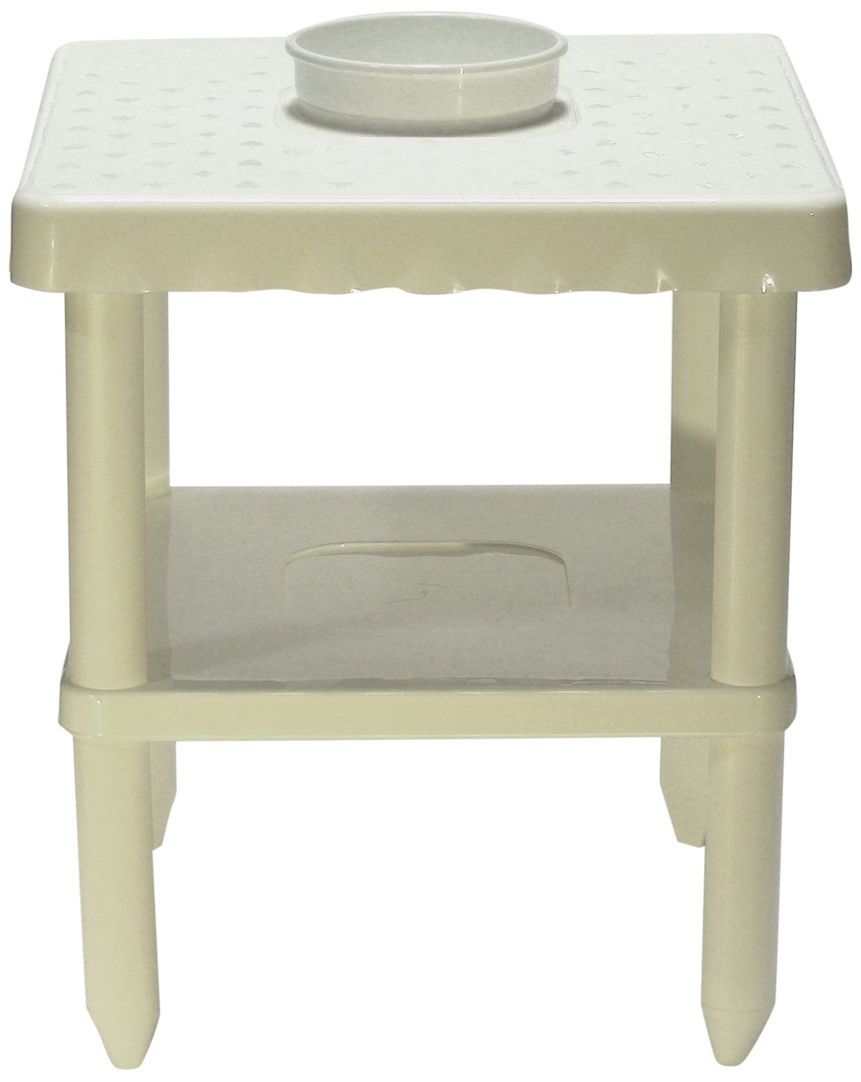 Sana Enterprises Our Portable Two Shelf Table Includes A Built-in Bowl and is Great for Beach, White
