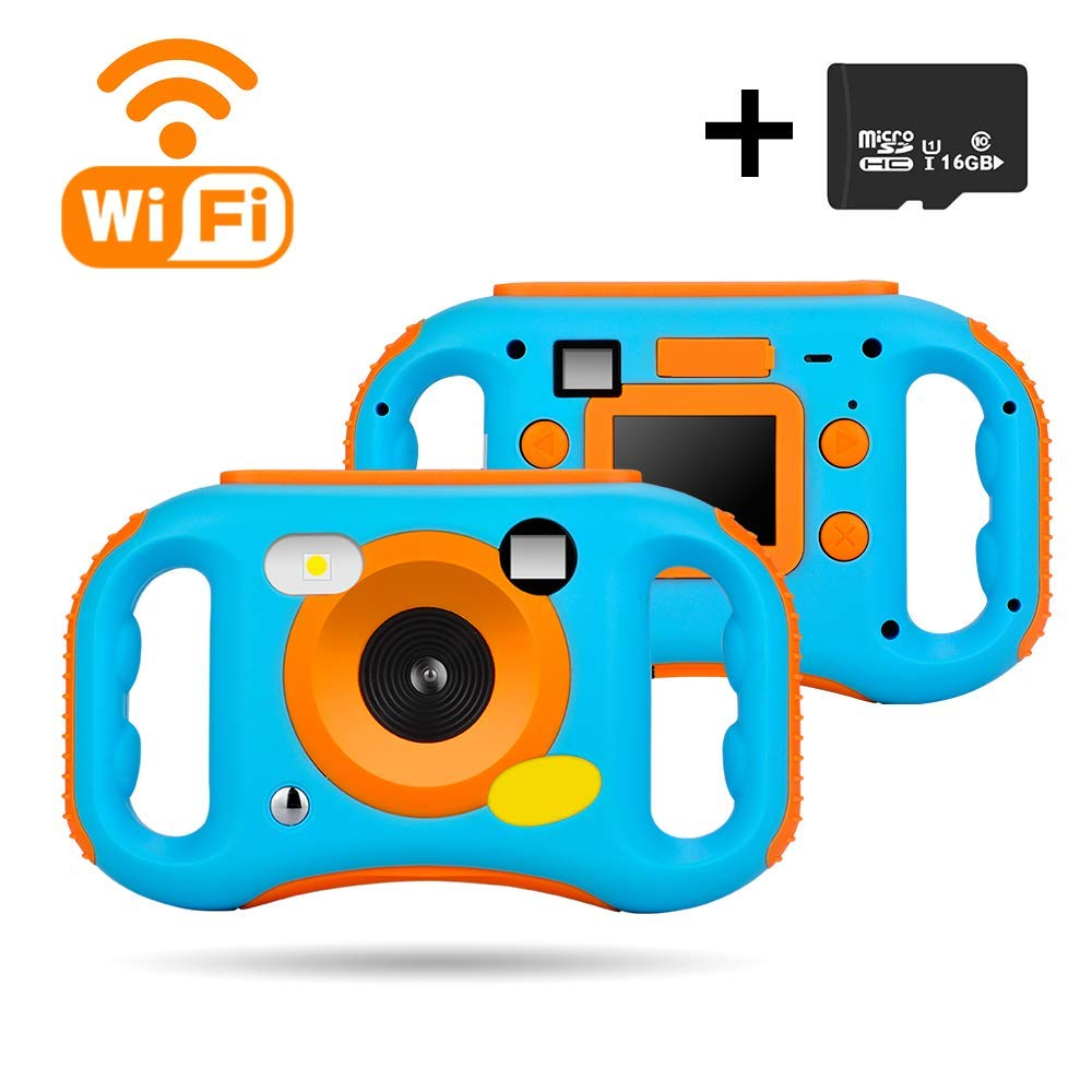 iBosi Cheng WiFi Kids Camera, 1080P HD Digital Anti-Drop Children Camera Camcorders with 1.77 Inch LCD Display,5X Digital Zoom,Flash and Mic, 16GB TF Card Included,Creative Birthday Gifts for Kids