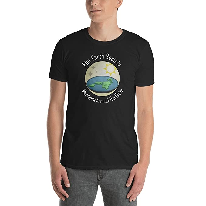 e460e70b Flat Earth Society T-Shirt - Members Around The Globe - Conspiracy Theory  Joke Gift
