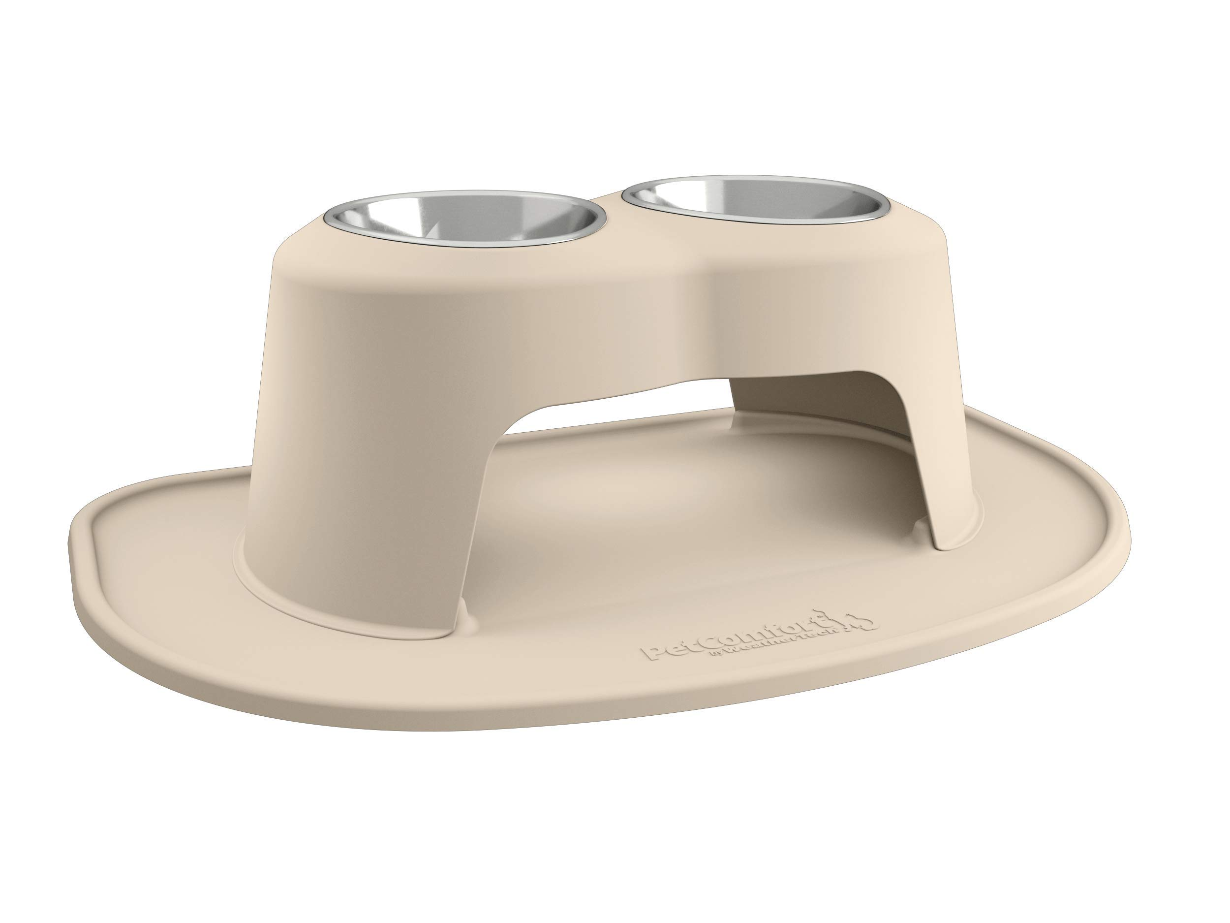 PetComfort Double High Feeding System with XL Mat (10'' Stand, Tan)