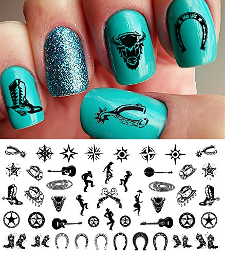 Country & Western Nail Art Waterslide Decals Set #1 - Horseshoes, Cowboy Boots]()