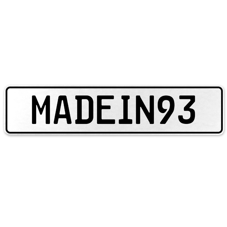 Vintage Parts 555581 MADEIN93 White Stamped Aluminum European License Plate
