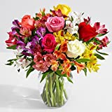 #10: ProFlowers - 17 Count Multi-Colored Smiles & Sunshine with Ginger Vase w/Free Clear Vase - Flowers Mothers Day