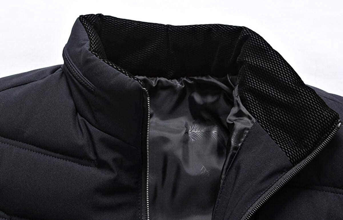 Yayu Mens Slim Winter Front-Zip Quilted Warm Thick Outwear Down Jacket Coat