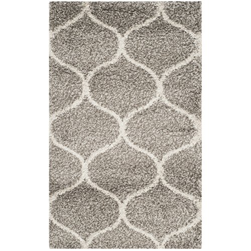 Safavieh Hudson Shag Collection SGH280B Grey and Ivory Moroccan Ogee Plush Area Rug 2' x 3' (Luxurious Home Decor)