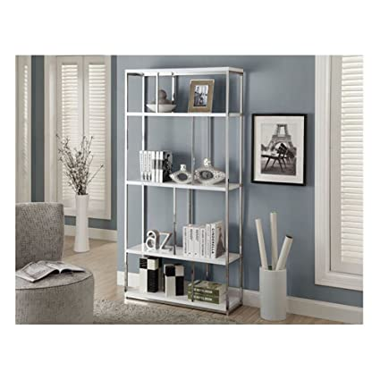 Wonderful Monarch Chrome Metal Bookcase, 72 Inch, Glossy White