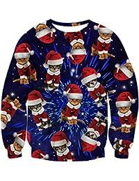 Unisex Funny Print Ugly Christmas Sweater Crewneck...