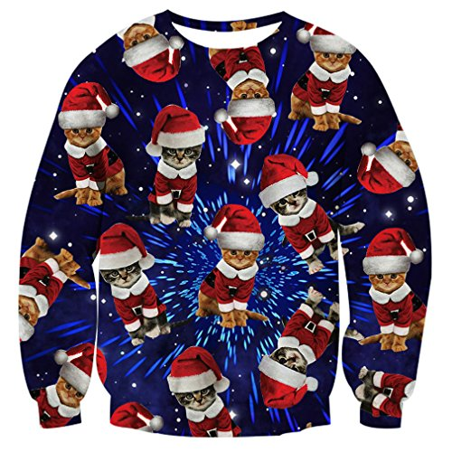 RAISEVERN Unisex Space Cat 3d Print Graphic Cause Pullover Ugly Christmas Sweatshirt for Women, 2017 Style Christmas Space Cat, Medium