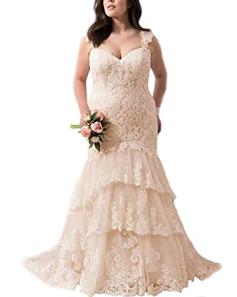 Graceprom Women\'s Layered Lace Mermaid Wedding Dresses Straps Plus ...