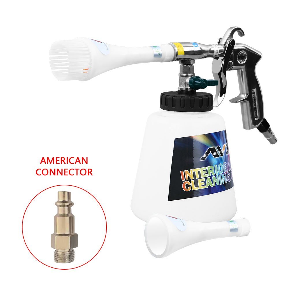 VGEBY Car Cleaning Gun, Professional Washing Blow Gun with 1000ml Kettle for Car Interior Care (Plastic Nozzle-US Connector)