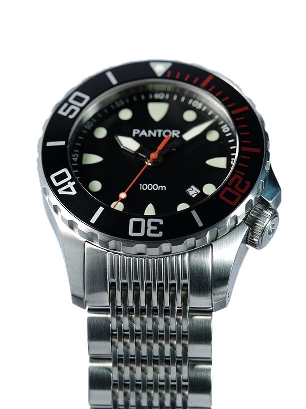 Pantor - Reloj automático para buceo Seahorse con bisel giratorio y válvula de helio, resistencia hasta 1000 metros, tamaño grande, 45 mm: Amazon.es: ...