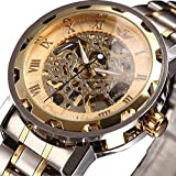 Watch Mens Gold Luxury Classic Skeleton Stainless Steel Mechnical Watch with Link Bracelet