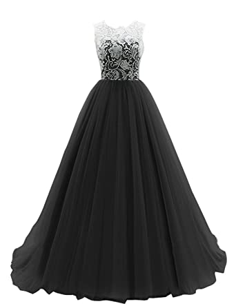 Bess Bridal Womens Long Lace Tulle Ball Gown Formal Prom Evening Dress US2 Black