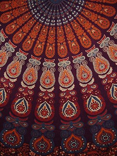 Indian Mandala Print Round Cotton Tablecloth 80