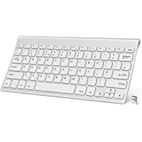 Jelly Comb Wireless Rechargeable Keyboard, KUS-009D 2.4GHz Compact Wireless Keyboard QWERTY UK Layout, Ultra Slim & Portable, White + Silver