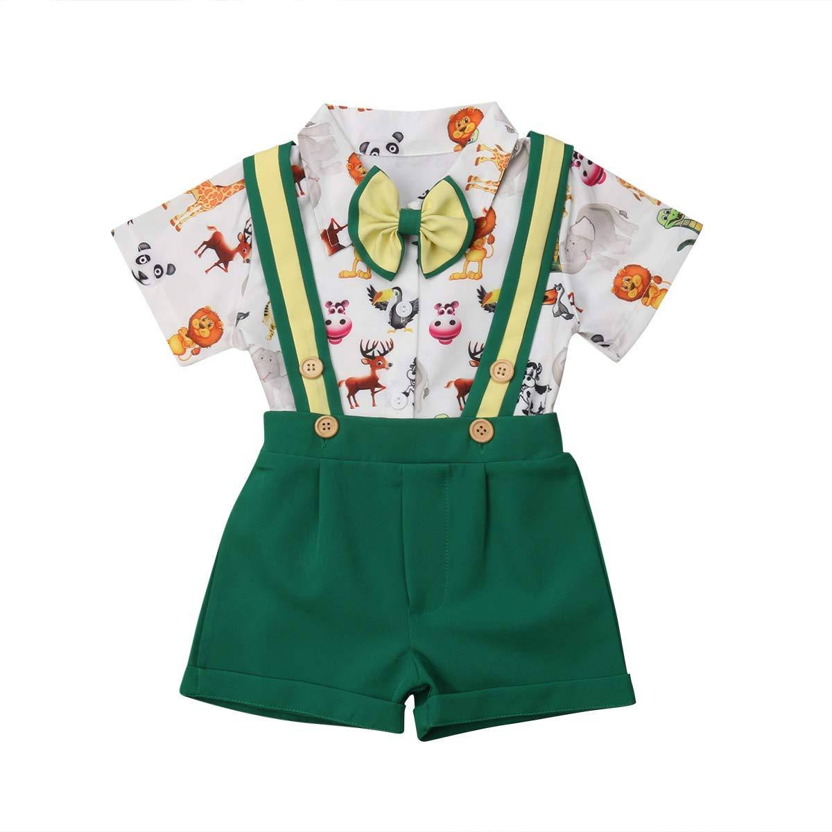 a682a7f84 Amazon.com: Toddler Baby Boys Short Sleeve Cartoon Print Bowtie Shirt  Suspender Shorts Pants Gentleman Suit Outfits Set: Clothing