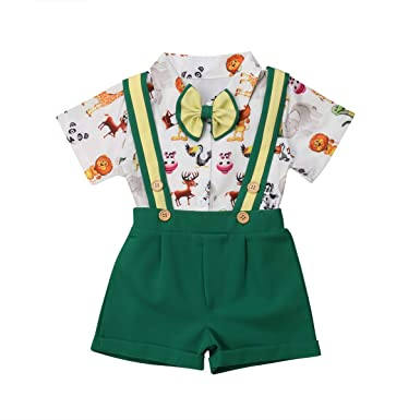 0550d2b85 Toddler Baby Boys Clothing Set Gentleman Outfit Bowtie Animal Pattern Shirt  Bid Suspender Shorts Pants Overalls