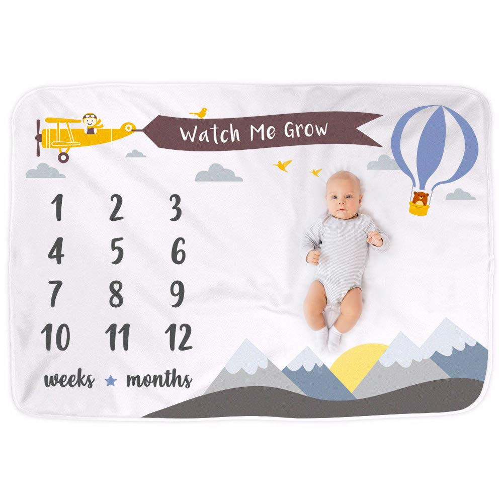UrbanKiddy™ Weekly Monthly Baby Milestone Blanket Photo Props Shoots Backdrop for Newborn Boy Girl, Infant Baby Swaddling Blanket for Photography, New Mom Baby Shower Gift Ideas (Mountains) product image