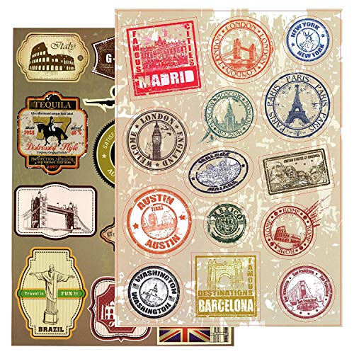 T&B Vintage Stickers 2PCS Multi Countries Retro Landmark Monument Travel Airline Plane Patterns Stickers Luggage Suitcase Laptop Waterproof Stickers Children's Room Decor Labels A4#6 2nd Version ()