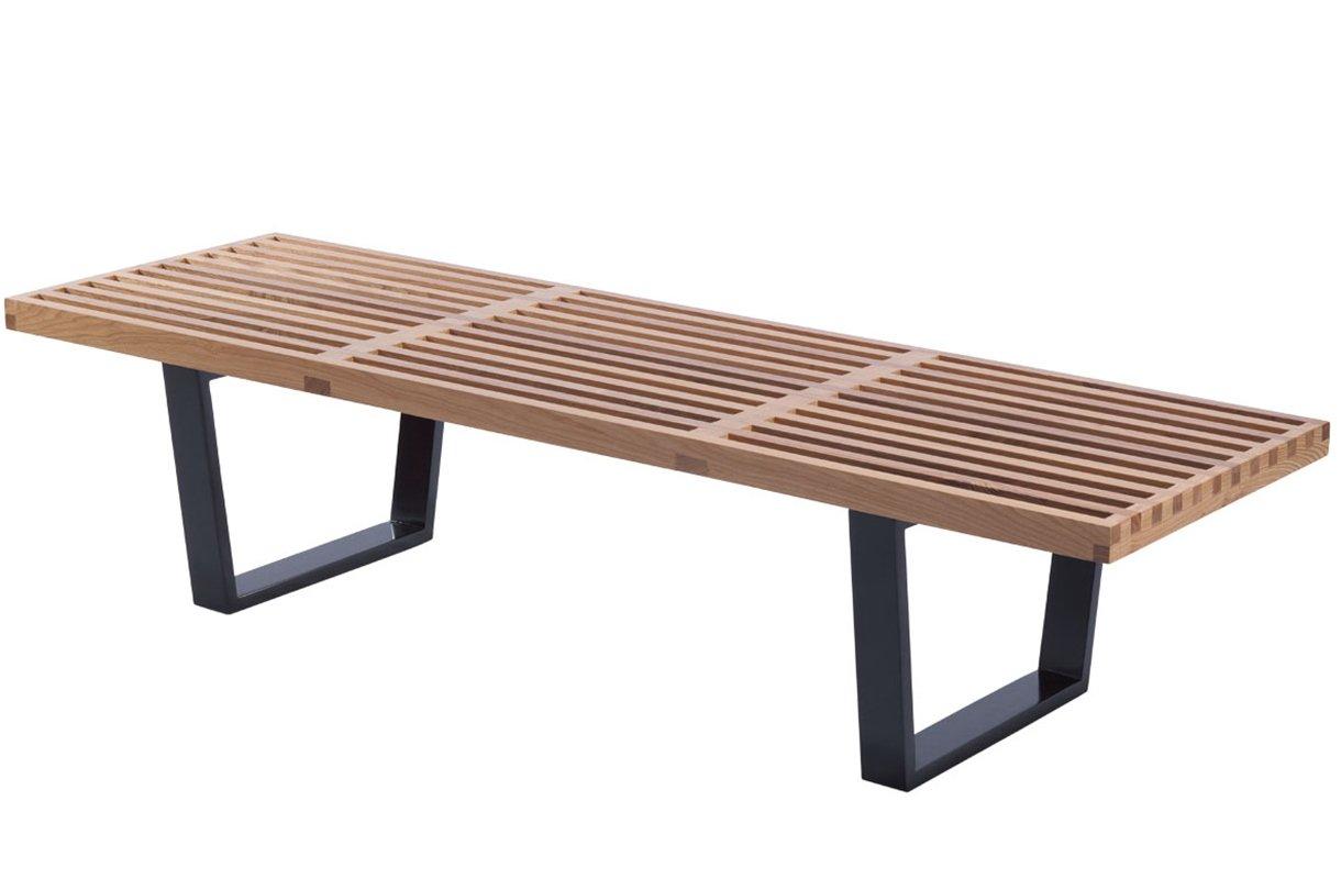 Contemporary Mid Century Modern Platform Natural Wooden Slat Bench,  Natural: Kitchen U0026 Dining