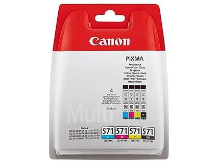 Canon CLI-571 4 Cartuchos de tinta BK/C/M/Y para Impresora de Inyeccion Pixma TS5050,5055,5053,5051,6050,6051,8050,8053,8052,8051,9055,9050MG5750,5751...