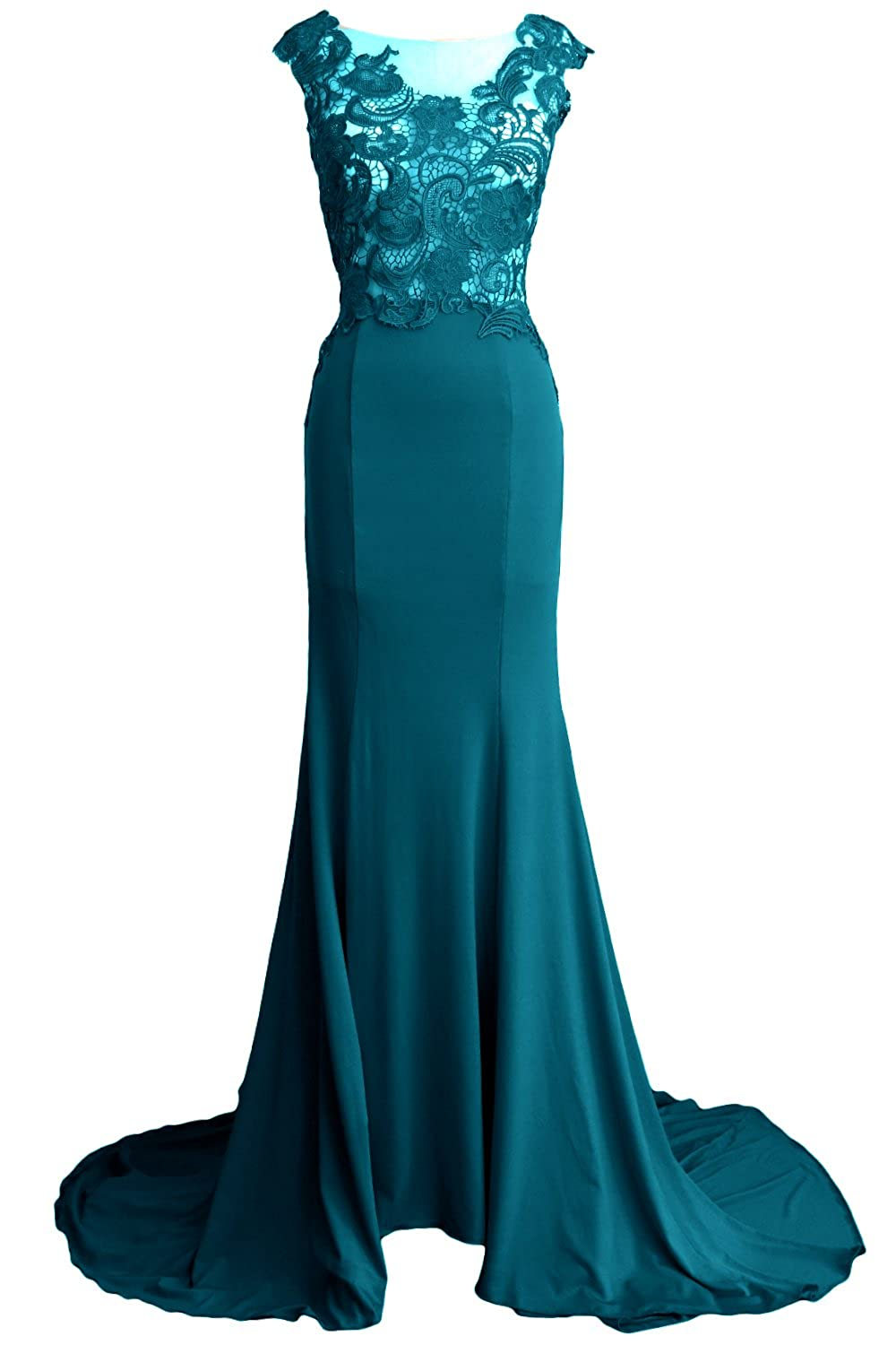 MACloth Women Mermaid Lace Jersey Long Formal Evening Gown Wedding Party Dress