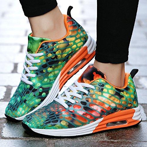 FUSHITON Men Women Road Running Shoes Lightweight Athletic Walking Fashion Sneakers Orange 8raHjzL1AK