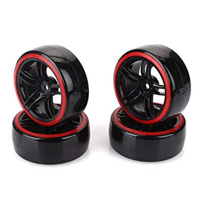 12mm Hexagonal RC Drift Neumáticos y llanta de Rueda Fit HSP HPI 1:10 On-Road Car D5M + PP0370: Hogar