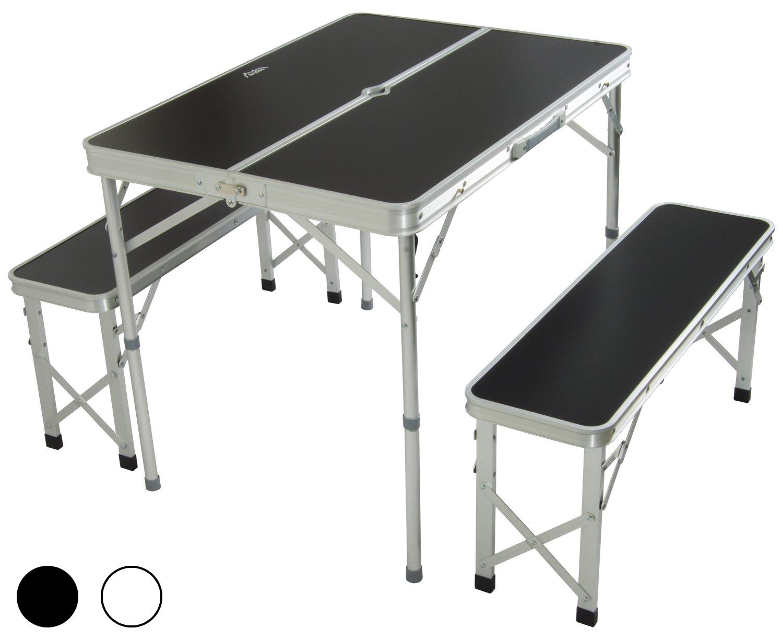 Andes - set pieghevole da campeggio/picnic - tavolo e sedia - in alluminio - Nero