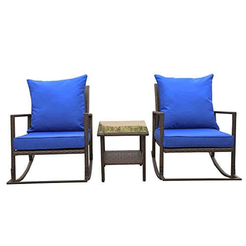 VALITA Outdoor Patio PE Wicker Furniture Rocking Conversation Set 3 PCS – End Table with Glass Top and 2 Chairs with Royal Blue Cushions