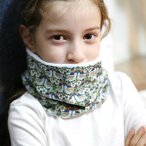 8af1daccc022e Tour de cou - SNOOD enfant fille, doublé polaire Minky et réversible côté  tissu Liberty