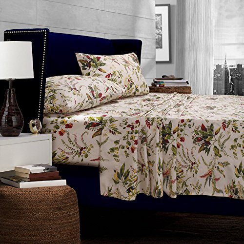 Tribeca Living Maui Printed Deep Pocket Percale Sheet Set, California King, Multicolor