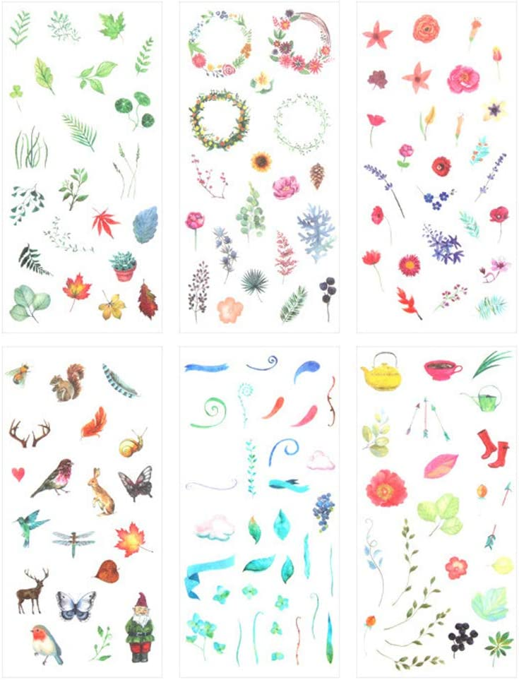 3 Set(18 Sheet) Fresh Nature Floral Plants Leaf Flower Cute Animal Stationery Sticker Scrapbooking Planner Journal Diary DIY Decorative Label Craft Stickers for Kids Boys Girls (Colorful Nature)