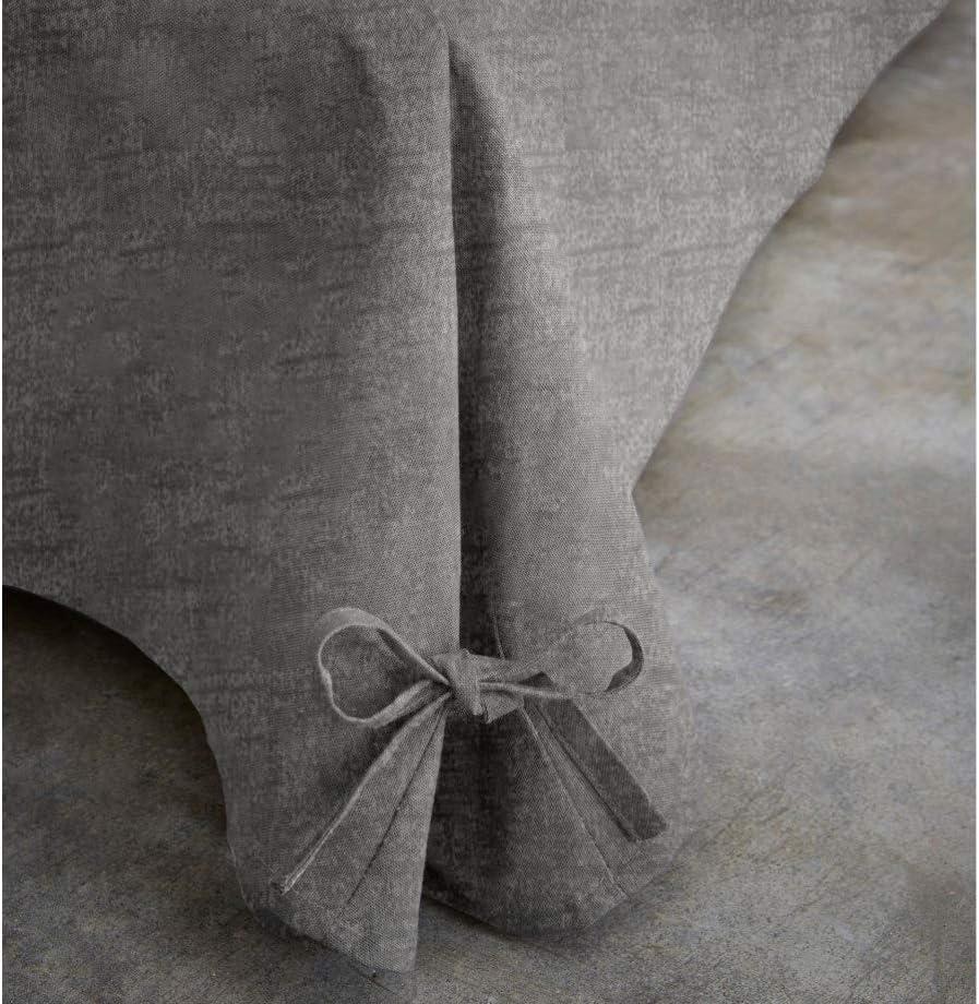 BiancheriaWeb Lenzuolo Vestiletto Montovana Giroletto Colore Grigio Melange in Tinta Unita Matrimoniale Grigio