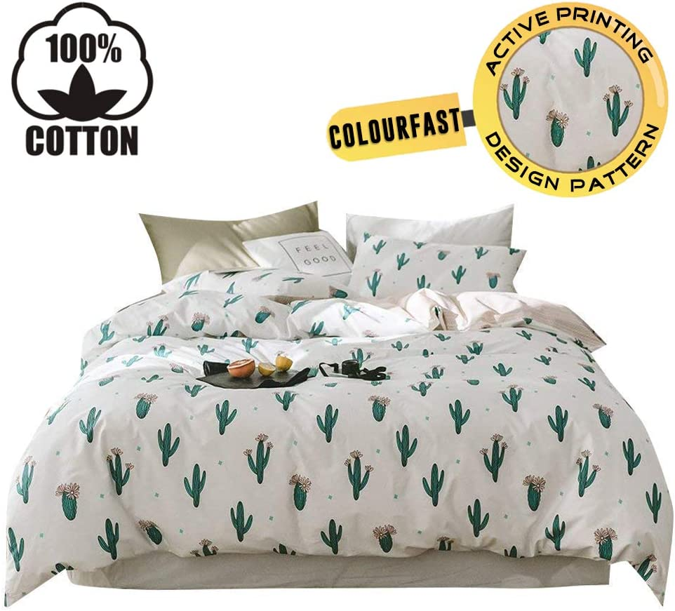XUKEJU 100% Cotton Bedding Cartoon Soft Children Animal Duvet Cover Set Cactus Pattern Bedding Set 3 Pieces with 2 Pillow Cases Best Bedding Decoration Gif for Kids/Teens Twin