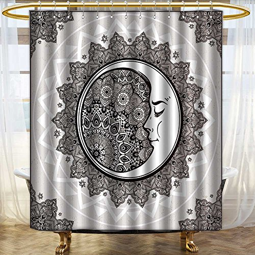 (Printsonne Shower Curtain Liner Intricate ornate bohemian crescent moon with stars and mandala Mold/Mildew Resistant/W72 x L92)