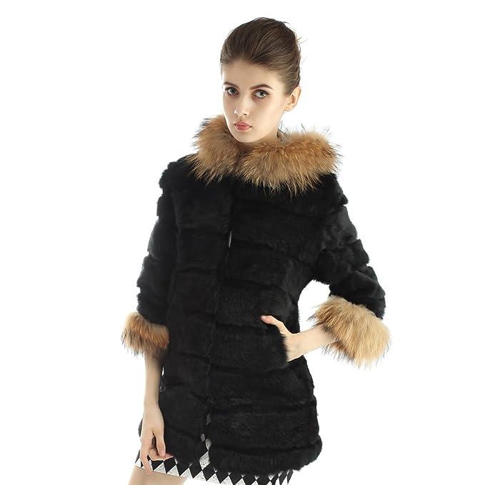 Vemolla Abrigo de piel de conejo con capucha de piel de mapache Tamaño del collar de