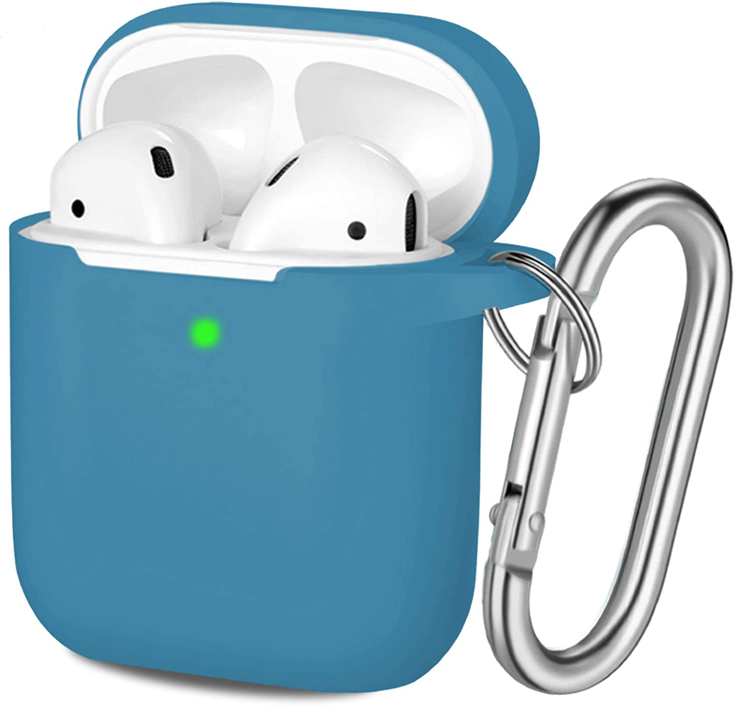 Hamile Compatible with AirPods Case [Front LED Visible] Soft Silicone Protective Cases Cover Skin Designed for Apple AirPod 2 & 1, Women Men, with Keychain - Blue