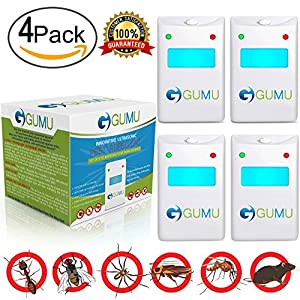 Ultrasonic Pest Control Repeller - Electronic Plug In Repellent for Insect Mice Bug Ant Rat Roach Flea Spider Mouse Mosquito Termite Fly Rodent Cockroach - Pack of 4 - Indoor Use Ecofriendly 100% Safe