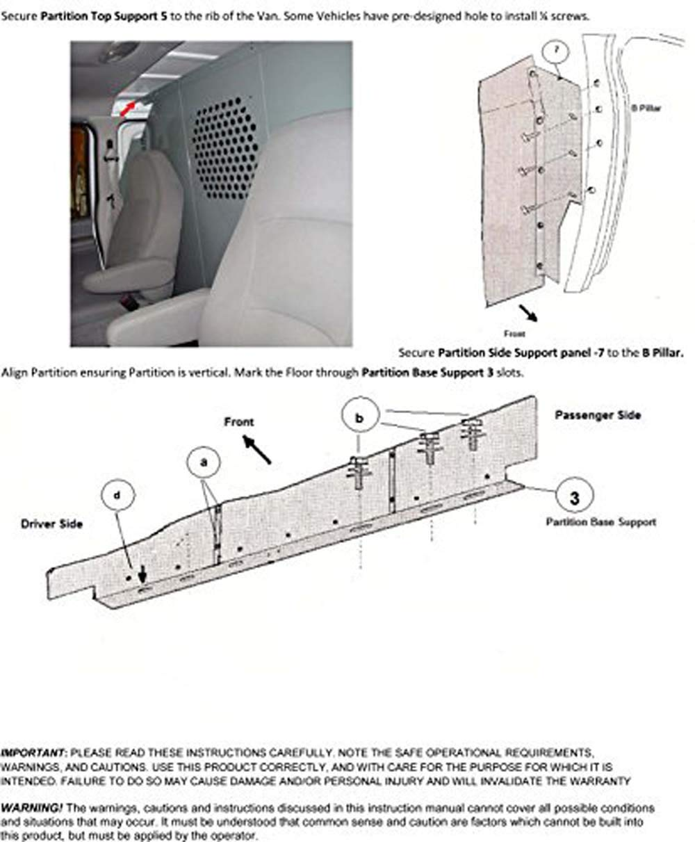 Van Safety Partition, Bulkhead/Divider with 10