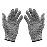 Ubei 5-Level Cut Resistant Gloves Food Grade Safety Cutting Gloves for Kitchen Cut Vegetables Kill Fish Slaughter Skid 1Pair (Medium)