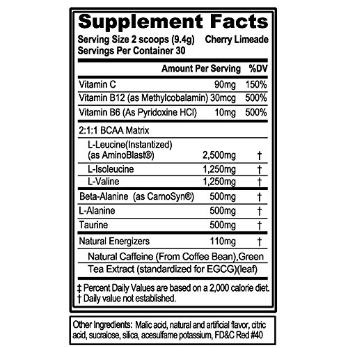 Evlution Nutrition BCAA Energy - High Performance, Energizing Amino Acid Supplement for Muscle Building, Recovery, and Endurance (30 Servings) (Cherry Limeade) (30 Serv)