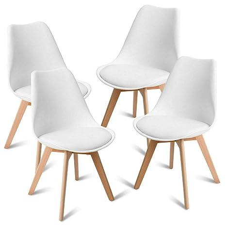 Amazon.com: Juego de 4 sillas de comedor sin brazos para ...