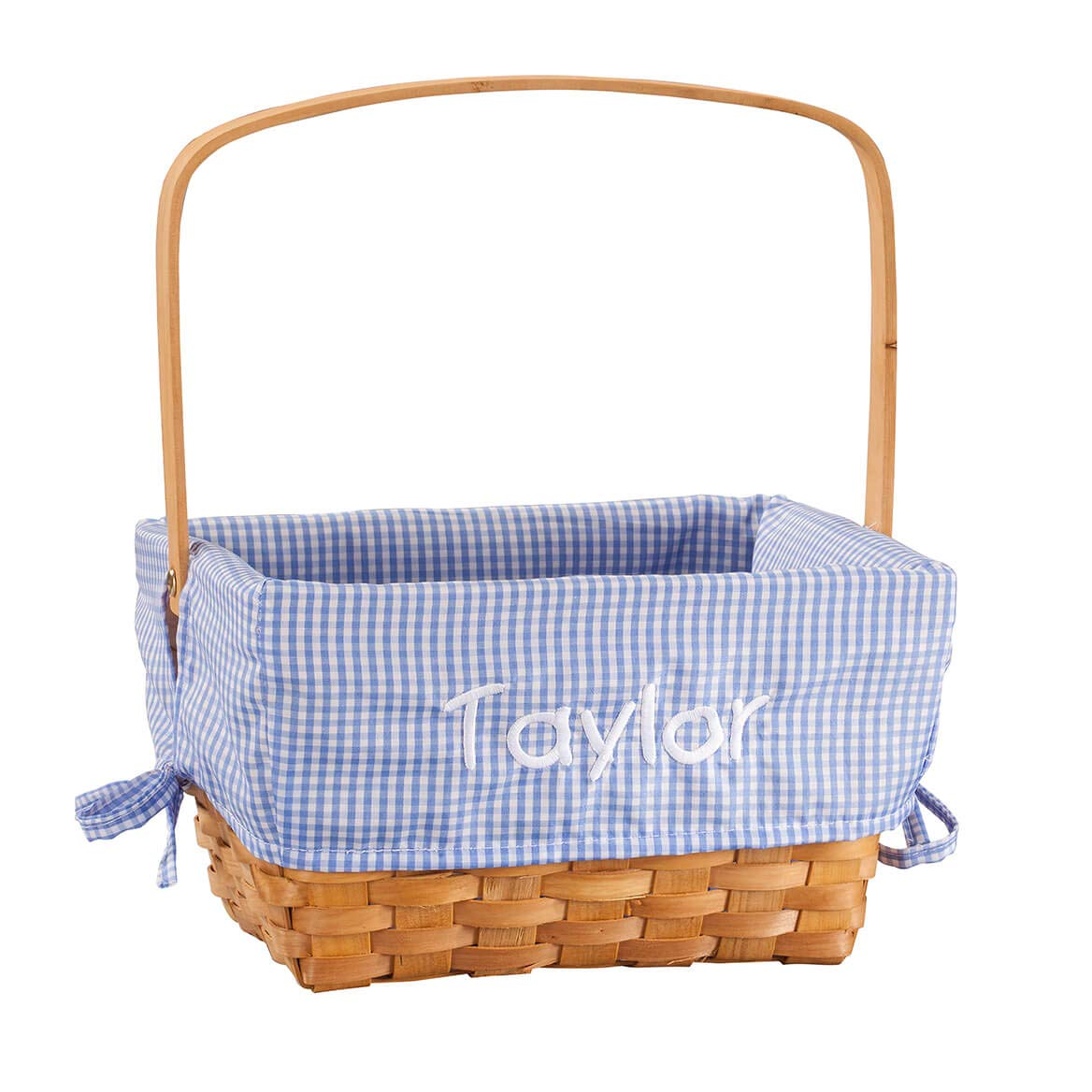 Fox Valley Traders Personalized Blue Gingham Wicker Easter Basket