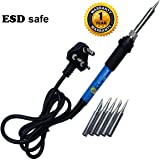 amiciKart True ESD Safe Soldering Iron with Adjustable Temperaturea and 5 Bits Of Different Shapes, 60W