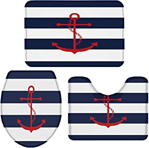 Queenker 3 Pieces Bath Rug Set Toilet Seat Cover Red Anchor, Navy Blue and White Stripe Print Contour Rug, Pedestal Mat and Toilet Lid Cover,Non-Slip Bathroom Floor Mat 18''x30''+14''x18''+15''x18''